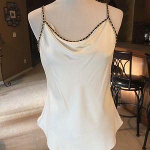 Cream Cami with Gold Chain & Black Shoulder Straps
